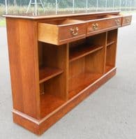 SOLD - Yew Wood Open Long Antique Style Bookcase